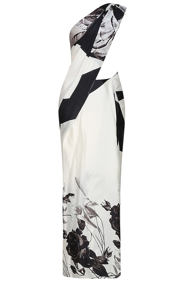 Off white and black floral printed saree with unstitched blouse  by Flamingo By Shubhani Talwar