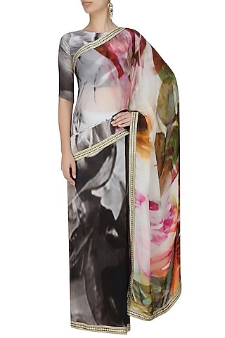 Grey and black tye and dye printed saree with unstitched blouse by Flamingo By Shubhani Talwar