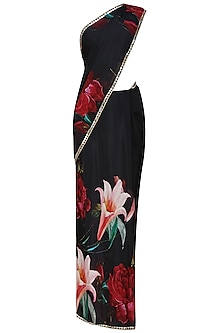 Black and red floral printed saree with black blouse piece by Flamingo By Shubhani Talwar