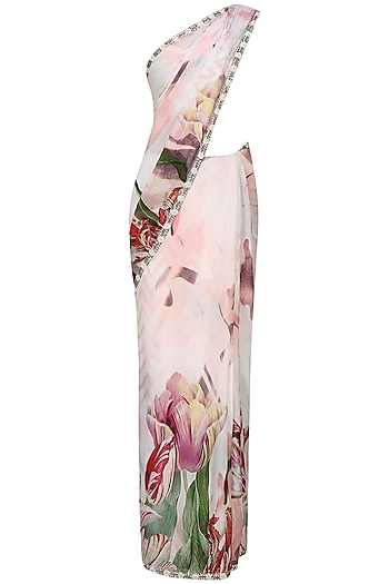 Off white and pink floral printed saree with unstitched blouse  by Flamingo By Shubhani Talwar