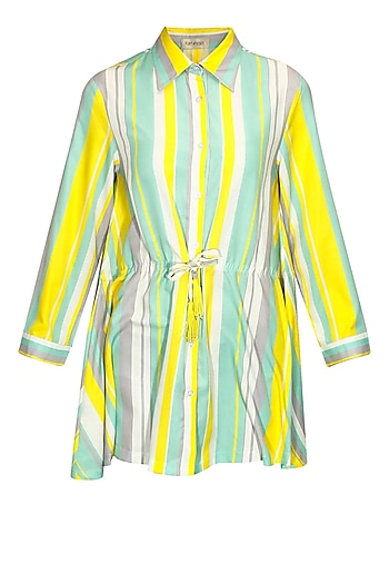 Yellow, mint, white and grey stripe printed nightshirt by Flirtatious