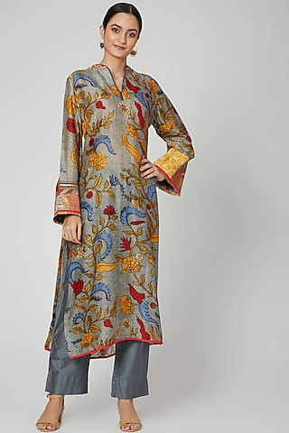 Grey Kalamkari Kurta With Pants by ILAPTI