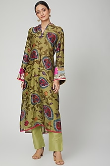 Lime Embroidered Kurta With Pants by FnM-POPULAR PRODUCTS AT STORE