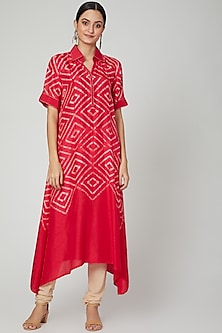 Red Tie & Dye Printed Asymmetric Kurta by FnM-POPULAR PRODUCTS AT STORE
