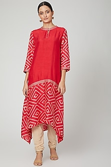 Red Tie & Dye Printed Kurta by FnM-POPULAR PRODUCTS AT STORE