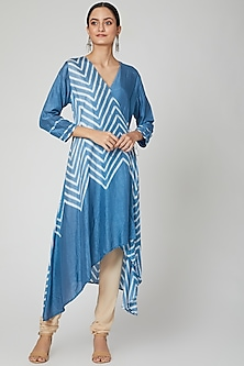 Sky Blue Tie & Dye Printed Angrakha Kurta by FnM-POPULAR PRODUCTS AT STORE