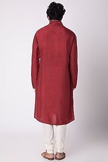 Red Natural Fiber & Cotton Kurta by FnM