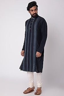 Cobalt Blue Natural Fiber & Cotton Kurta by FnM