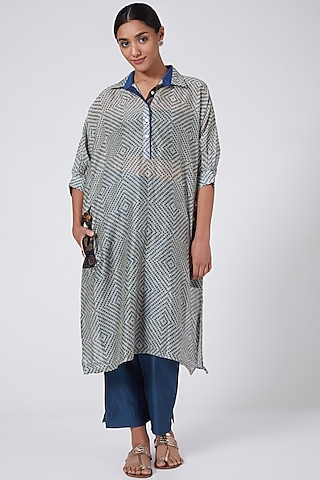 Blue Printed & Embroidered Narrow Pant Set by ILAPTI