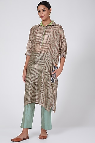 Mint Green Printed & Embroidered Narrow Pant Set by ILAPTI