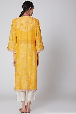 Yellow Bandhani Kurta With Pants by ILAPTI