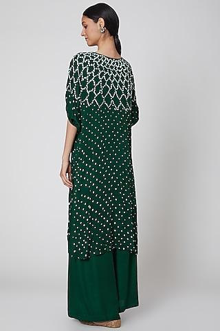 Emerald Green Bandhani Printed Kurta With Pants by ILAPTI
