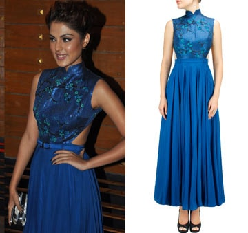 Peacock blue embroidered ankle length dress by Sailex