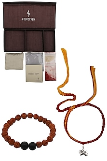 Damru Charm Pendant and Moli Thread Rakhi Set by FOURSEVEN
