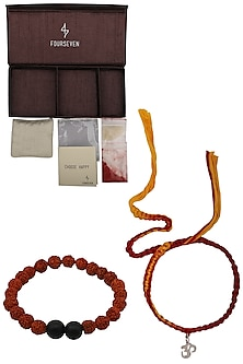 Om' Charm Pendant and Moli Thread Rakhi Set by FOURSEVEN