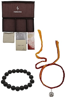 Shri Yantra Charm Pendant and Moli Thread Rakhi Set by FOURSEVEN