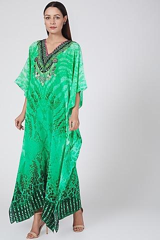 Emerald Green Animal Printed Kaftan by First Resort by Ramola Bachchan