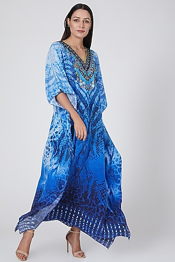 Cobalt Blue Printed Kaftan by First Resort by Ramola Bachchan