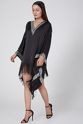 Black Embellished Kaftan by First Resort by Ramola Bachchan