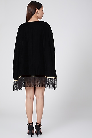 Black Embellished Poncho Top by First Resort by Ramola Bachchan