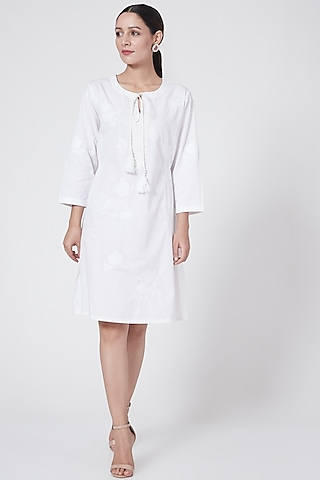 White Embroidered Dress With Tassels by First Resort by Ramola Bachchan