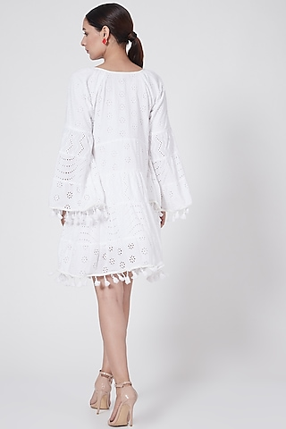 White Tiered Dress With Tassels by First Resort by Ramola Bachchan