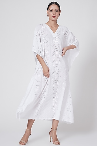 White Eyelet Long Kaftan by First Resort by Ramola Bachchan