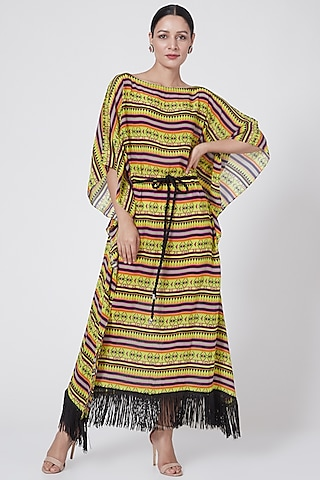 Yellow Geometric Printed Dress by First Resort by Ramola Bachchan