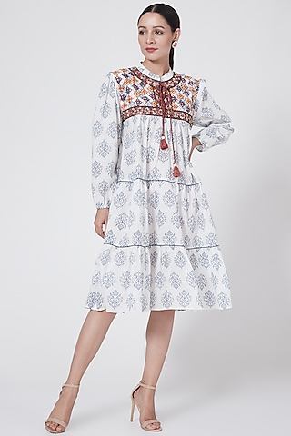 White Embroidered Ruffled Dress by First Resort by Ramola Bachchan