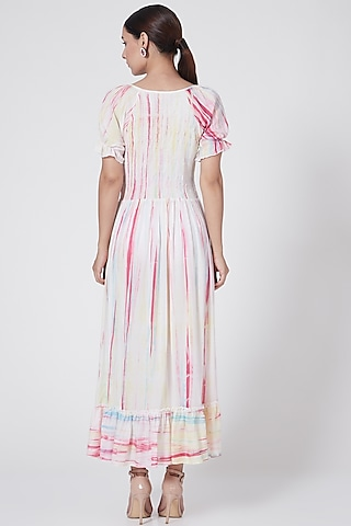 White Tie-Dye Smocked Dress by First Resort by Ramola Bachchan