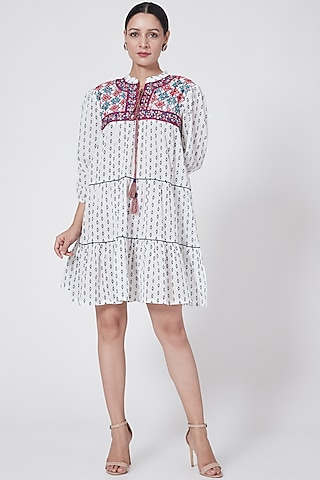 White Mirror Embroidered Ruffled Dress by First Resort by Ramola Bachchan