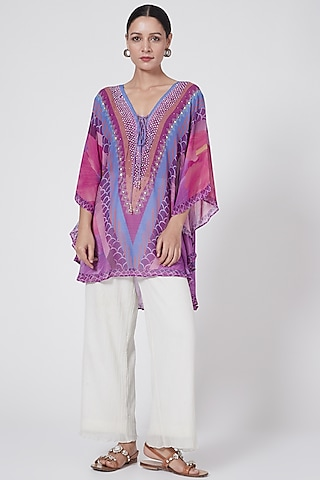Purple Floral Embellished Tunic by First Resort by Ramola Bachchan