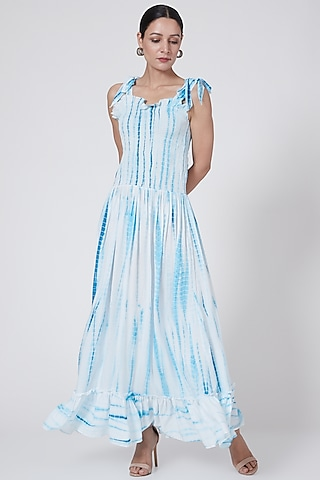 White & Blue Tie-Dye Smocked Dress by First Resort by Ramola Bachchan
