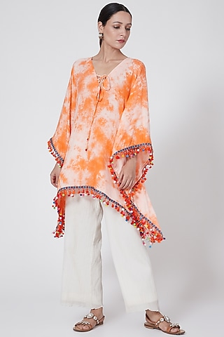Orange Tie-Dye Poncho Top by First Resort by Ramola Bachchan
