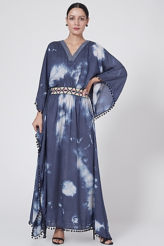Cobalt Blue Tie-Up Kaftan by First Resort by Ramola Bachchan