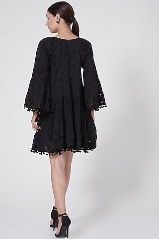 Black Eyelet Tiered Dress by First Resort by Ramola Bachchan