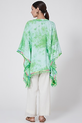 Emerald Green Tie-Dyed Poncho Top by First Resort by Ramola Bachchan
