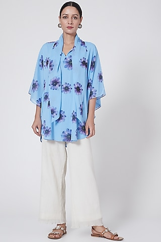 Sky Blue Floral Printed Top by First Resort by Ramola Bachchan