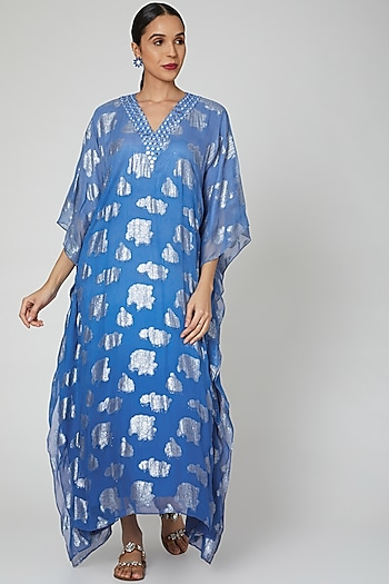 Cobalt Blue Mirror Embroidered Kaftaan by First Resort