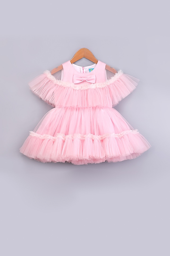 Pink Ruffled Cape Dress by Free Sparrow