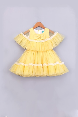 Yellow Ruffled Cape Dress by Free Sparrow