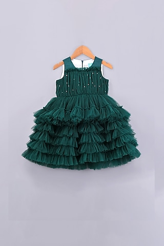 Green Layered Pearl Dress by Free Sparrow