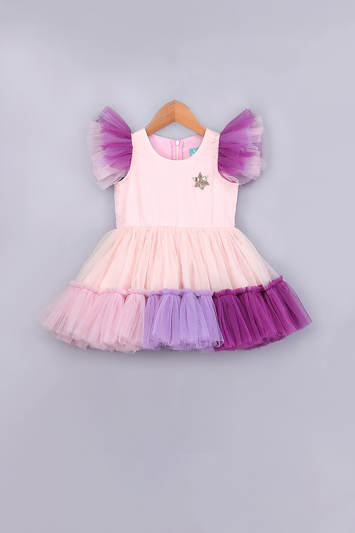 Pink Handcrafted Dress With Ruffles by Free Sparrow