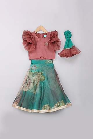 Teal Green Embroidered Lehenga Set by Free Sparrow