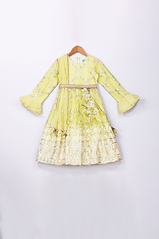 Lime Yellow Embroidered Anarkali With Belt by Free Sparrow