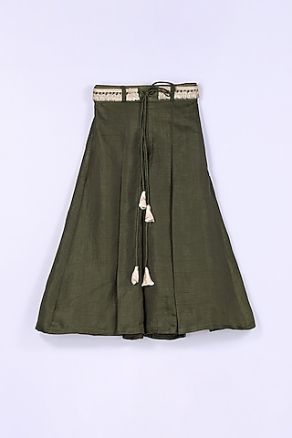 Ivory & Olive Green Palazzo Pant Set by Free Sparrow