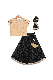 Black & Gold Tasseled Lehenga Set by Free Sparrow