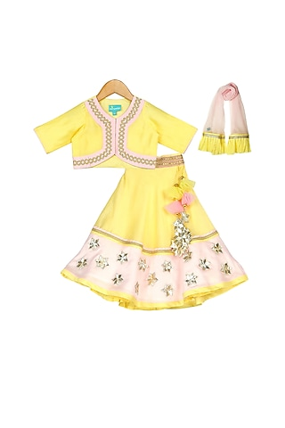 Pink & Yellow Lehenga Set With Latkans by Free Sparrow