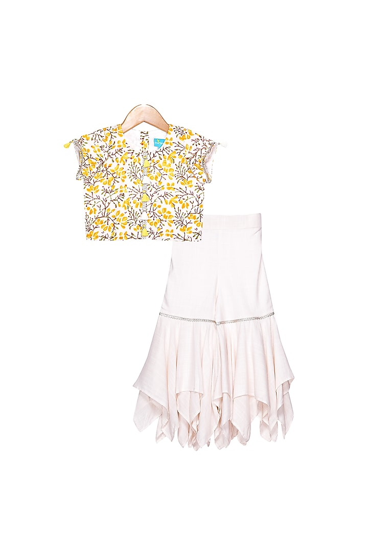 Off White & Yellow Sharara Set by Free Sparrow