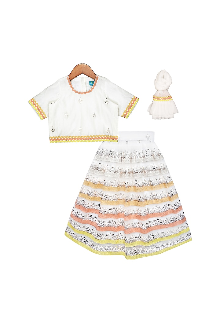 White Embroidered Lehenga Set by Free Sparrow